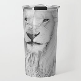 Albino Lion (Black and White) Travel Mug