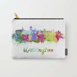 Wellington skyline in watercolor Carry-All Pouch