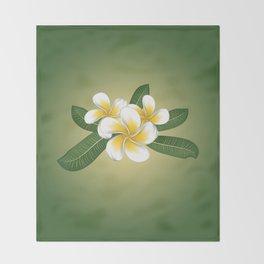 White plumeria Throw Blanket