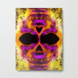 psychedelic angry skull portrait in pink orange yellow Metal Print