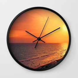 Fire In The Sky Florida Sunset Wall Clock