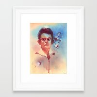 johnny cash Framed Art Prints featuring Johnny Cash by Liz O'Connor