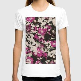 deep pink floral silhouette T-shirt