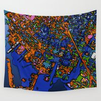 maps Wall Tapestries featuring Funky Maps, NEW YORK by MehrFarbeimLeben
