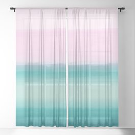 Touching Seafoam Teal Pink Watercolor Abstract #1 #painting #decor #art #society6 Sheer Curtain