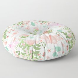 Pastel coral pink green butterfly floral polka dots Floor Pillow