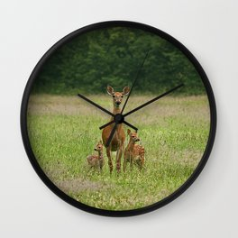 Doe with Twin Fawns Wall Clock