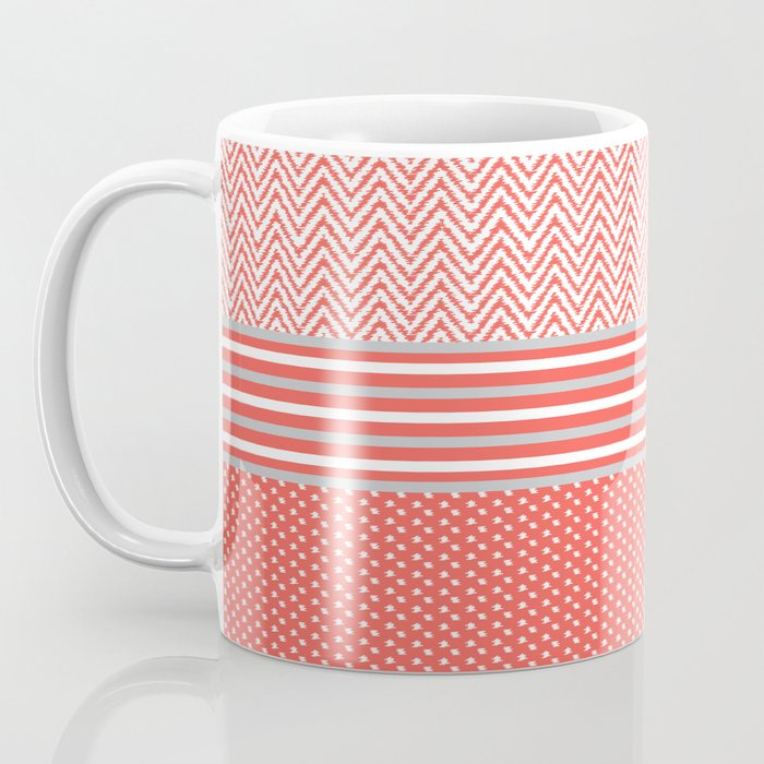 Ikat Coral Chevron Coffee Mug