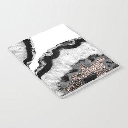 Gray Black White Agate Glitter Glamor #4 #gem #decor #art #society6 Notebook