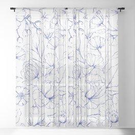 Modern hand drawn navy blue white elegant floral pattern Sheer Curtain