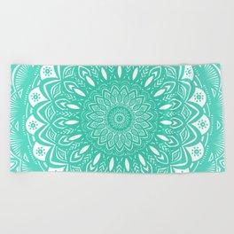 Minimal Aqua Seafoam Mint Green Mandala Simple Minimalistic Beach Towel