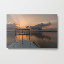 Coastal Sunrise from a Skiff Metal Print