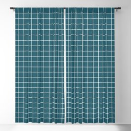 Dark Teal and White Grid - more colors Blackout Curtain