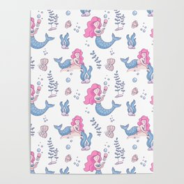 Hand painted  pink blue lilac nautical mermaid pattern Poster