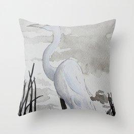 Edgar the Egret Bird Throw Pillow