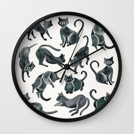 Cat Positions – Black Palette Wall Clock