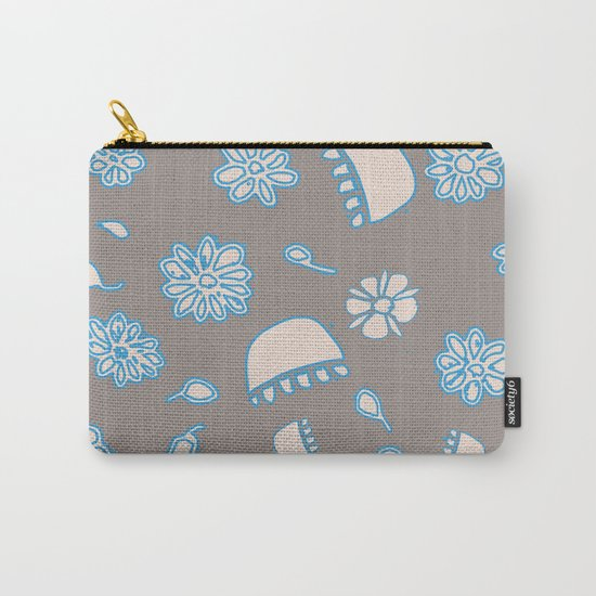 Flower border blue Carry-All Pouch