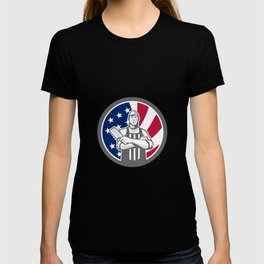 American Butcher Front USA Flag Icon T-shirt