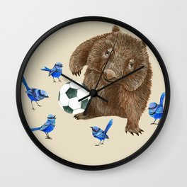 Blue wrens Wombat Football Wall Clock