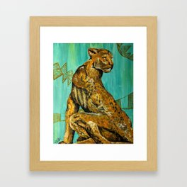 African Themed Cheetah Painting in Turquoise and Orange Framed Art Print