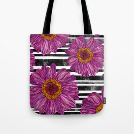 Pink Ink Flowers on Black & White Stripes Tote Bag