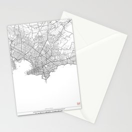 Montevideo Map White Stationery Cards