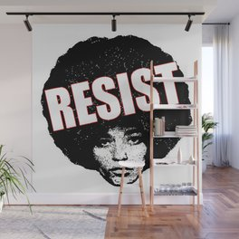 Angela Davis - Resist (black version) Wall Mural
