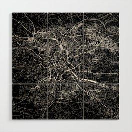 Krakow Black Map Wood Wall Art