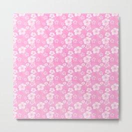 Soft Pink Hibiscus Turtle Hawaiian Pattern Metal Print