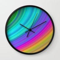 rainbow Wall Clocks featuring Rainbow by David Zydd