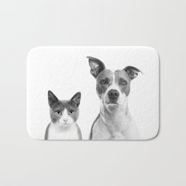 Cute Kitty Cat And Puppy Portrait Art Print, Cat And Dog Animal Nursery, Baby Animals Wall Art Decor Bath Mat