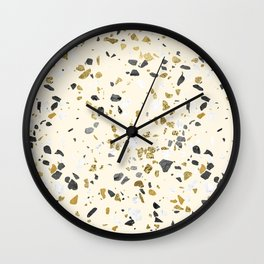 Glitter and Grit Yellow Gold Marble Wall Clock