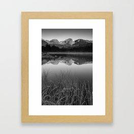 Sprague Lake Rocky Mountain Morning - Black and White Framed Art Print
