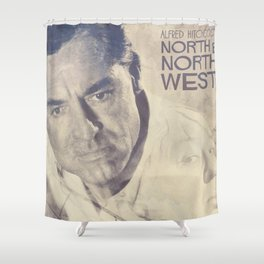 North by Northwest, Alfred Hitchcock, vintage movie poster, Cary Grant, minimalist Shower Curtain
