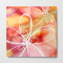 Abstract Pink Galaxy Flowers Metal Print