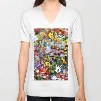 pixel art V-neck T-shirts featuring Pixel art by Ilya Konyukhov