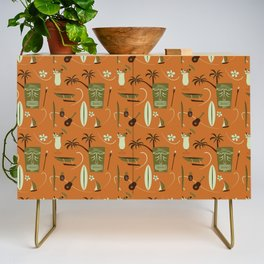 Orange Retro Hawaiian Tiki Hawaii Beach Credenza