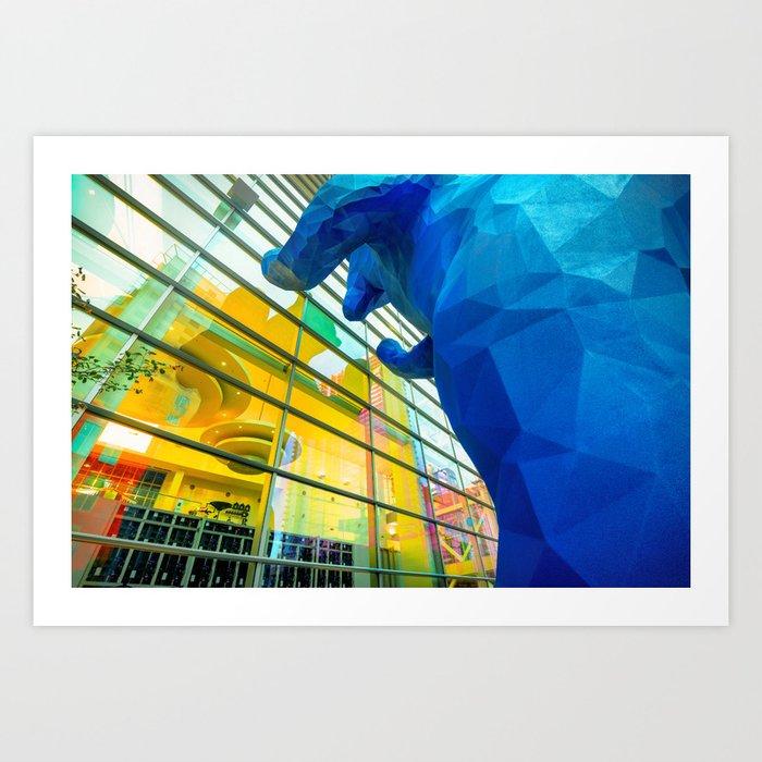 Peeking In Denver Blue Bear Art Print By Gregoryballosfineart
