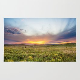 Tallgrass Prairie - Sunset and Bison on the Plains Rug