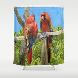 Scarlet Macaw Parrots Perching Shower Curtain
