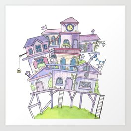 Pink Floating City Art Print