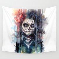 calavera Wall Tapestries featuring sugar skull - calavera de azucar by AkiMao