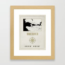 Vancouver - Vintage Map and Location Framed Art Print