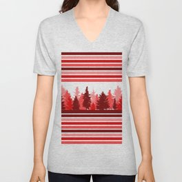 Christmas Evergreen Trees and Red Stripes Winter Unisex V-Neck