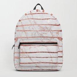 Stylish rose gold glitter stripes white marble pattern Backpack
