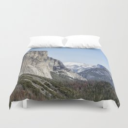 El Capitan, Half Dome and Sentinel Rock from Tunnel View Duvet Cover
