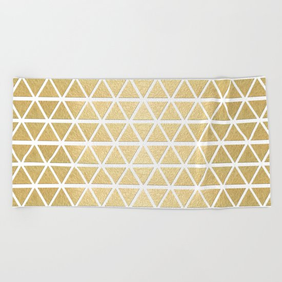 White and Gold Geometric Pattern 3 Beach Towel