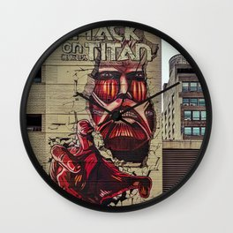 New York City, Manhattan, wall mural Attack On Titan, graffiti (2019-GNY12) Wall Clock