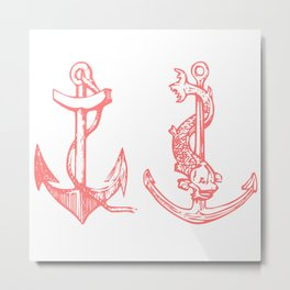 2 Anchors Logo Pink Metal Print