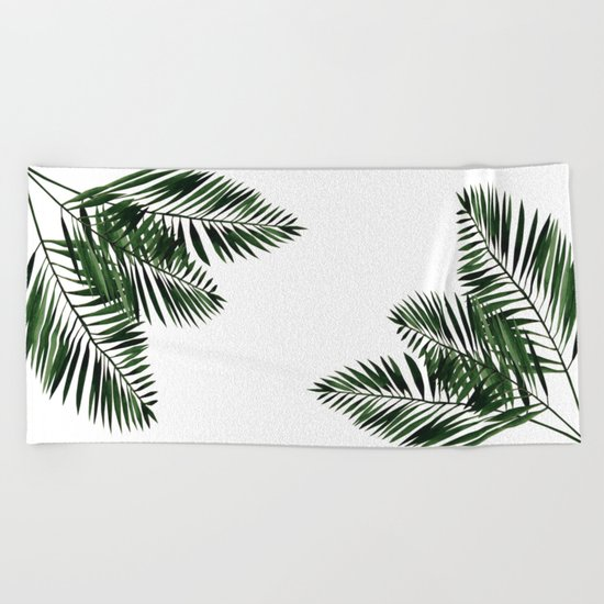 Tropical Exotic Palm Leaves I Beach Towel